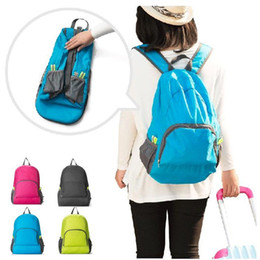 Wholesale Outdoor Travel Wear - 23*14Cm Outdoor Portable Foldable Backpacks Travel Waterproof Travel Bag Durable Nylon Sports Wearing Shoulders Backpack 5 Colors