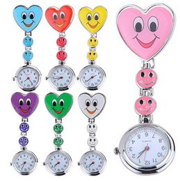 Wholesale Heart Stationary - 2016 1000 Pieces Popular Women's Cute Smiling Faces Heart Clip-On Pendant Nurse Fob Brooch Pocket Watch DHL Free Shipping