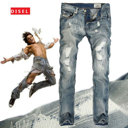 Wholesale British Patchwork - Wholesale-2016Fashion Famous Brand hole Embroidery denim ripped jeans men Luxury British full wash biker jeans Straight brand clothing