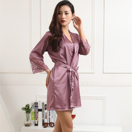 Wholesale Pajama Shirt Satin - Wholesale-Women Silk Satin Robes Sexy Kimono Nightwear Sleepwear Pajama Bath Robe Nightgown With Belt