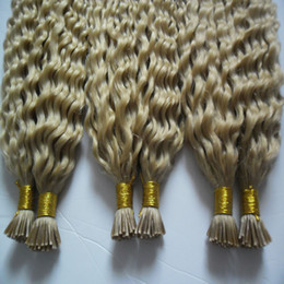Wholesale Wholesale Keratin Bond Hair Extensions - 100g strands 3 bundles Remy Hair Extensions Keratin I Tip Hair Extensions Blonde Brazilian Hair Kinky Curly Human Hair Extensions Keratin