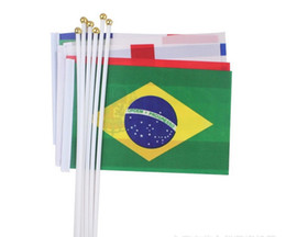 Wholesale Olympic Countries - 2016 Brazil Olympic Games 14*21cm Different Countries Hand Waving Flags Mini Banner Hand Flags Competition Cheer Flags Free shipping