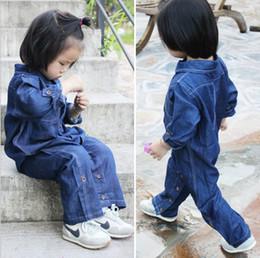 Wholesale Boys Size 3t Jeans - Baby Autumn Jeans 1 piece Denim Rompers Kids Jumpsuit Boys Girls Cool Dress Suit Children Trousers Clothes