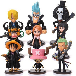 Wholesale One Piece Luffy Hat - Anime One Piece Mini Action Figures The Straw Hats Luffy Roronoa Zoro Sanji Chopper Figure Toys 9pcs set free shipping