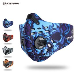 Wholesale Bike Training - Cycling Face Mask With Filter 4 Colors Half Face Carbon Bicycle Bike Training Mask Mascarilla Polvo Mascaras Ciclismo