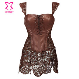 Wholesale Sexy Lingerie 4xl - Wholesale-Steampunk Brown Lace and Leather Corset Dress Punk Gothic Clothing Sexy Korset Waist Training Corsets Plus Size Lingerie 6XL