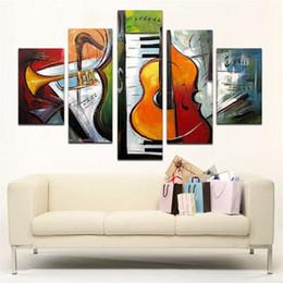 pintura a óleo instrumento Desconto Pintura a óleo de alta qualidade 100% pintados à mão parede arte instrumentos musicais decoração de arte moderna pintura a óleo abstrata 5 pçs / set