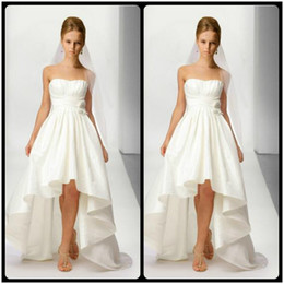 Wholesale Taffeta Images - 2017 New Arrival Strapless Taffeta Ivory Short Front Long Back Wedding Dresses High Low Wedding Bridal Gowns