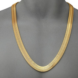 Wholesale Rhinestone Club - Hip Hop 75cm Long Snake Chain 14mm Wide Gold Plated Bling Charm Night Bar Club Keel Necklaces For Men Gift