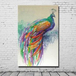 Wholesale Peacock Oil Painting Framed - Hot Sale Wall Decor Peacock Oil Painting Hand made Canvas Painting Living Room Wall Decor Abstract Wall Pictures Hand made No Framed