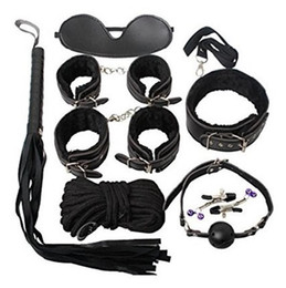Wholesale Bdsm Nipple Collar - 8Pcs Unit Leather Bondage Sets BDSM Kits Blindfold + Handcuffs + Neck Collar + Whip + Ball Gag + Rope + Nipple Clamps + Hand Restraint