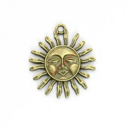 Wholesale Wholesales Antique Jewelry - 15pcs Antique Bronze Plated Sun Face Charms Pendants for Bracelet Jewelry Making DIY Necklace Craft 33x29mm
