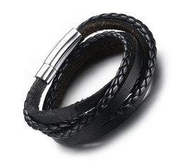Wholesale Multi Rope Bracelets - Fashion New Hand-made Mens Black Braided Real Leather Bracelet Multi-strand Genuine Leather Wristband Rope Woven Bracelets Men
