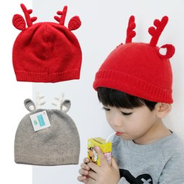 Wholesale Knit Santa Hat Baby - Cute kids hat elk horns kids Fall and Winter hat Santa Claus Rabbit wool baby hat handmade knitted Christmas baby cap