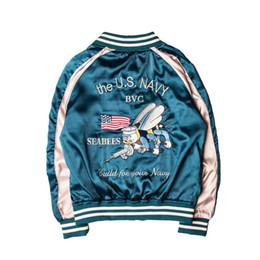 Wholesale Japanese Wear - MA1 flying retro Japanese jacket men women motorcycle jacket Streetwear embroide jackets Double side wear Air Force Service jackets