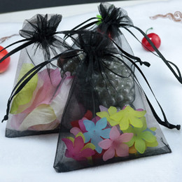 "Wholesale Black Organza Gift Bags - Black Organza Drawstring Pouches Jewelry Party Small Wedding Favor Gift Bags Packaging Gift Wrap Square 5cm X7cm 2"" X2.75"",100pcs lot"