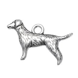 Wholesale Cheap Cute Dogs - 24*15mm Antique Silver Plated New Cute Animal Dog Pet Charm Sale Cheap Jewelry Charms Bracelet Gifts 20pcs