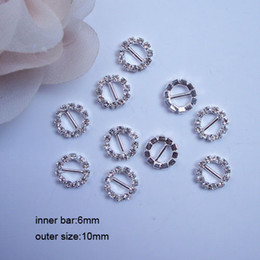 Wholesale 6mm Wholesale Buttons - (J0004) 100pcs lot,6mm bar,outer size:10mm,round rhinestone buckle for invitation card,silver or gold plating