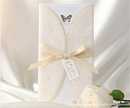 Wholesale Custom Made Wedding Invitations - Creative Custom Made Wedding Invitations With Ribbon Personalized Printable Cards With Covers Vintage Folded Wedding Invitations