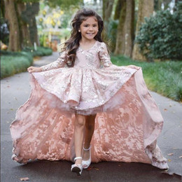 Wholesale Custom Hi Low Pageant Dresses - Pink High Low Long Sleeve Flower Girl Dresses For Wedding Lace Applique Ruffles Girls Pageant Gowns Sweep Train Children Prom Party Dresses