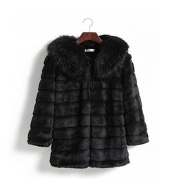 Wholesale Warming Waist Belt - Ldies Clothing Nice Winter New Women Korean Faux Fur Winter Coats Mink Fur Collar and Long Sections with Belt Size S- XXL