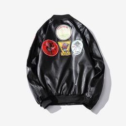 Wholesale leather outwear - Winter Hot Warm Fashion Street wear Brand Men's leather Jacket Collar Stand Slim Motorcycle Faux Leather Male Coat Outwear Jacket