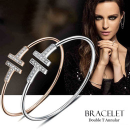 Wholesale Double Ring Chain Link - Top quality titanium steel Rose Gold Silver double T Love couple Bangle&Bracelet for women set with flash CZ