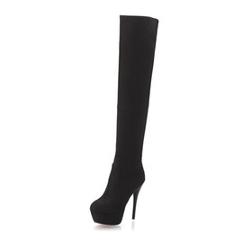 Wholesale High Heel 4cm - Black Plus Size 35-44 Faux Suede Womens Thigh High Boots 4CM Platform 13CM ThiN Heels Sexy Fashion Over the Knee Boots