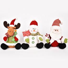 Плюшевая рождественская елка санта онлайн-2018 New Year 3pcs White Santa Pendant Christmas Decorations For Home Sitting Plush Xmas Ornaments Christmas Tree Decoration