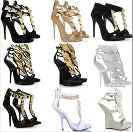 Wholesale Sexy Wedged Heels - New fashion Roman high heeled sandals sexy platform high heels women gold leaf wedges pumps big size EUR 34-42 dress shoes