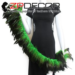 Wholesale Bronze Rooster - Superior Exporting ZPDECOR Factory 6-8 inch Top Quality Dyed Kelly Green Half Bronze Rooster Feather Strung for Skirt Shawl