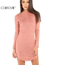 Wholesale mock neck dress - Wholesale- COLROVIE Womens Sexy Dresses Party Night Club Dress Bodycon Dress Sexy Pink Mock Neck Curved Hem Velvet Bodycon Dress