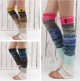 Wholesale Colorful Knit Leggings Women - Winter Women Leg Warmers Buttoned Colorful Knit Boot Cuff Boho Pattern Trim Leggings legging Boots Knee High Gradient for women