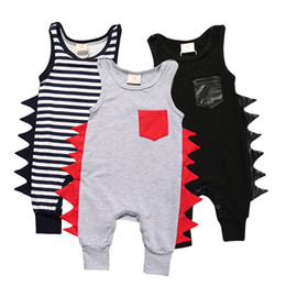 Wholesale Unique Baby Clothes Girls - infant romper Jumpsuits Baby boy Kids girls Clothing Fashion unique design harness with piecemeal stripes pattern 1543