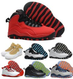 Wholesale Icing Powder - 2016 mens retro 10 Basketball shoes men Sneakers Steel Grey Powder Blue Chicago Seattle Ice Blue Infrared Venom Green sports shoes