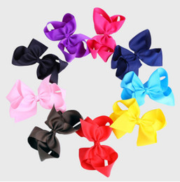 Wholesale Black Child Photography - Girls big BOWS hairpin size 15*10CM children grosgrain BOWS hair clip 21 color baby photography props children hair accessories R0210