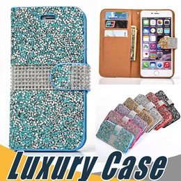 Wholesale Iphone 5s Flip Covers - Luxury Crystal Rhinestone Wallet Case Bling Glitter Diamond Flip Cover For iPhone X 8 7 6S 6 Plus SE 5S Sumsung S8 Plus S7 Edge Note 8