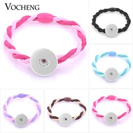 Wholesale Rubber Band Hair Woman - VOCHENG NOOSA Elastic Hair Ties Snap Jewelry Women Hair Accessories 5 Colors Fit 18mm Button Jewelry NN-482