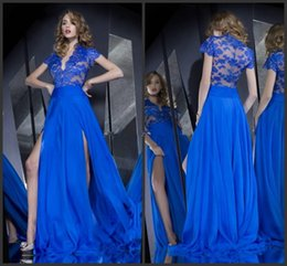 Wholesale See Through Chiffon Tops - 2016 Sexy See Through Lace Top Short Sleeves A-Line Chiffon Slit Front V-Neck Evening Prom Dresses