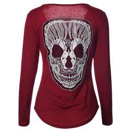 Wholesale Womens Clothing Skulls - Wholesale- Femininas 2017 Spring Women Tshirt Fashion Womens Long Sleeve Tops Mujer Back Skull T-shirt Plus Size Woman Clothes