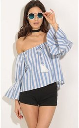 Wholesale Strapless Loose Tops - Fashion Blue Trendy Striped Blouse Womens Off Shoulder Strapless Slach Neck T-Shirt Puff Sleeve Summer Casual Loose Tops S M L XL WY7004