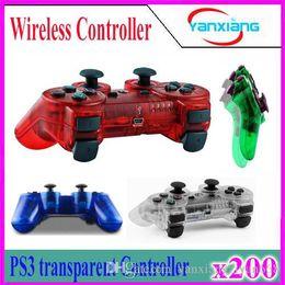 Wholesale Ps Controller Bluetooth - 200pcs Transparent 4 color Wireless Bluetooth Game Controller Joysticks Gamepads Controller Compateble For P3 controller YX-PS-04