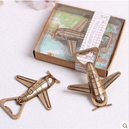 """Wholesale Lets Party - wedding favor gift giveaways for guest fashion beer bottle opener""""Let the Adventure Begin"""" Airplane Bottle Opener party souvenir"""