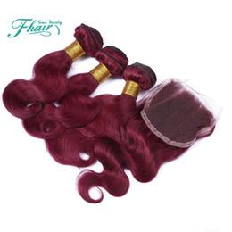 Canada Extensions de Cheveux Brésiliens de Vente Chaude # 99J Vin Rouge Pure Coloré Cheveux Humains Tisse Corps Vague Vierge Cheveux Brésiliens 3Bundles Avec Fermeture En Dentelle Offre