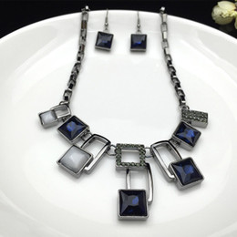 Wholesale Royal Blue Flower Earrings - Hot New Free shipping fashion Earring & Necklace Square stud Dark Royal Blue Crystal charm women wedding party necklace set jewelry