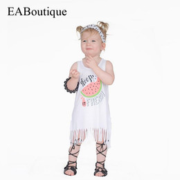 Wholesale Milk Silk Dress - New Fresh style fashion cartoon letter watermelon Smooth milk silk Cotton tassels summer dress for baby girls 1-5 years old