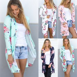 Wholesale Rivet Cross Blouse - Female Kimono Cardigan Blouse Shirt Spring Autumn Women Top Jacket Long Sleeve White Green Pink Blue Floral Top Blusas Feminina DHL NX170908