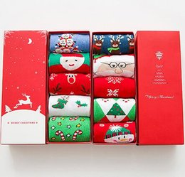 Wholesale Decorative Christmas Gift Boxes - High Quality Women Red Socks Cotton Christmas Stocking Gift Box Xmas Stocking Christmas Decorative Socks Xmas Gift 5pair set CCA6842 30set
