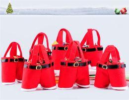Wholesale Christmas Hot Pants - 2016 New Hot Sale Santa Pants Style Christmas Candy Gift Bag Xmas Bag Gift Free Shipping