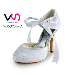 Wholesale Satin Pump Almond Toe - Lace White Pink Blue Ivory Wedding Dress Shoes 10 CM Pointed Toe Women Cocktail Evening Prom Street Fall Bridal Accessories 2015 Cheap